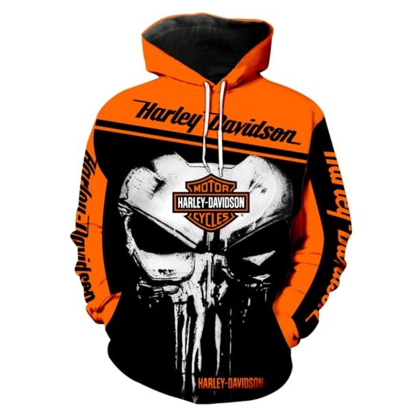 Skull harley davidson all over printed hoodie