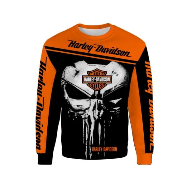 Skull harley davidson all over printed sweatshirt