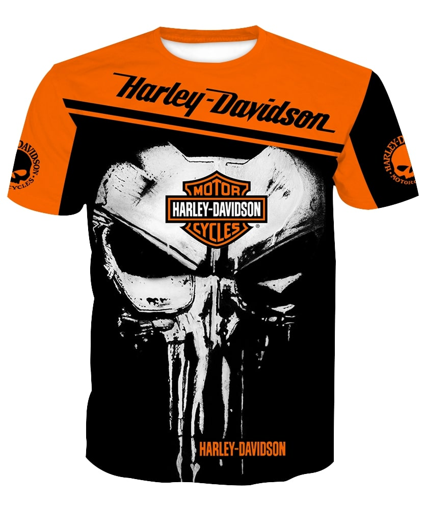 Skull harley davidson all over printed tshirt