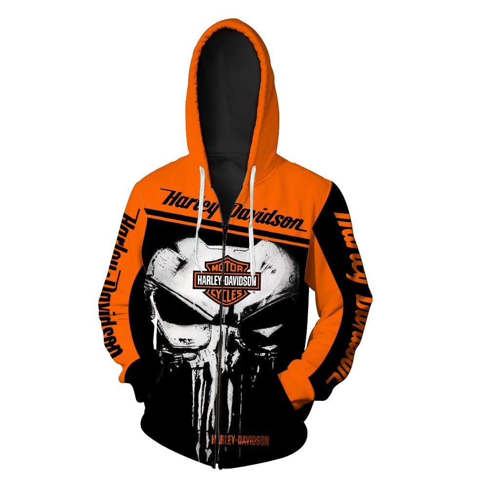 Skull harley davidson all over printed zip hoodie