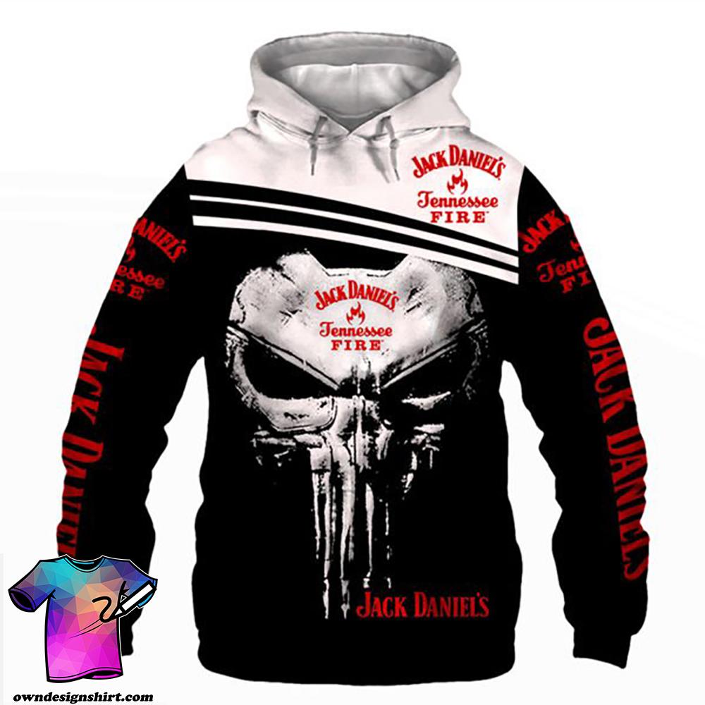 Skull jack daniel's tennessee fire full printing shirt