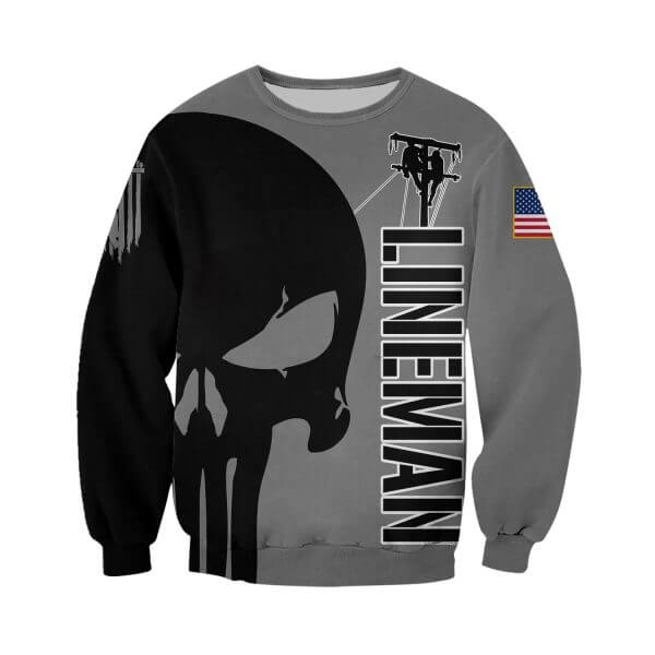 Skull lineman all over printed sweatshirt