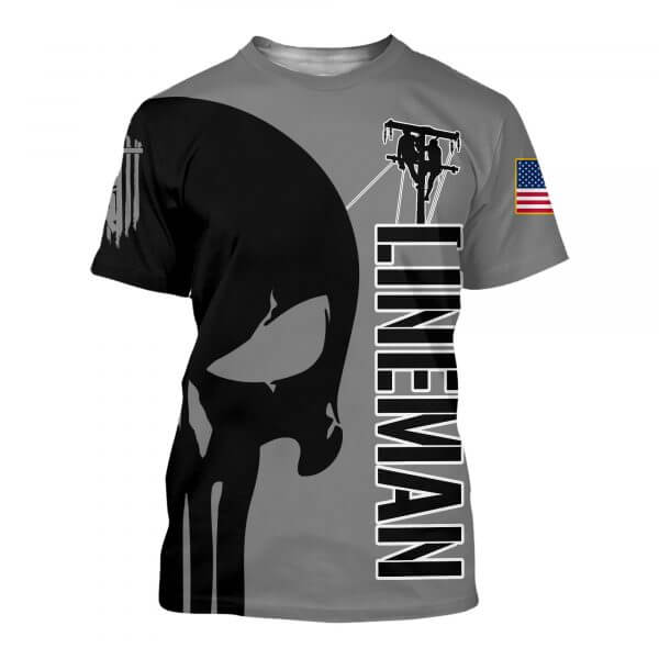 Skull lineman all over printed tshirt