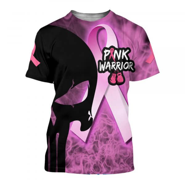 Skull pink warrior breast cancer awareness all over print tshirt