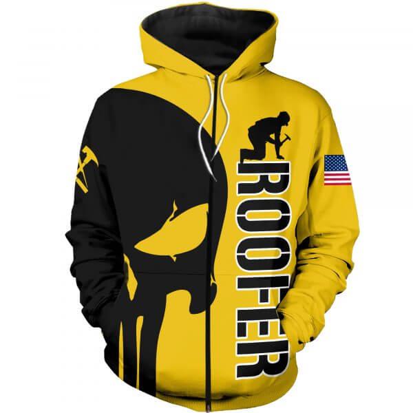 Skull roofer full printing zip hoodie