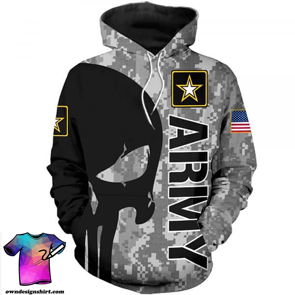 Skull us army full printing shirt