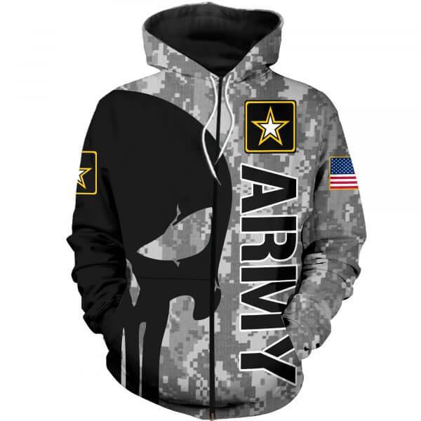 Skull us army full printing zip hoodie