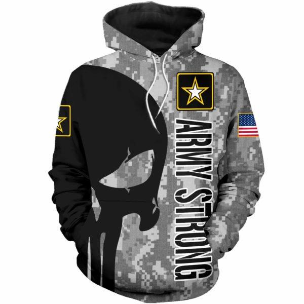 Skull us army strong full printing hoodie