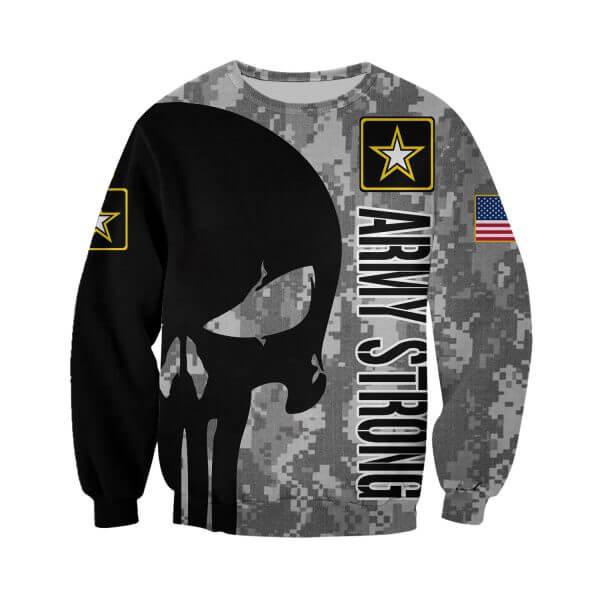 Skull us army strong full printing sweatshirt