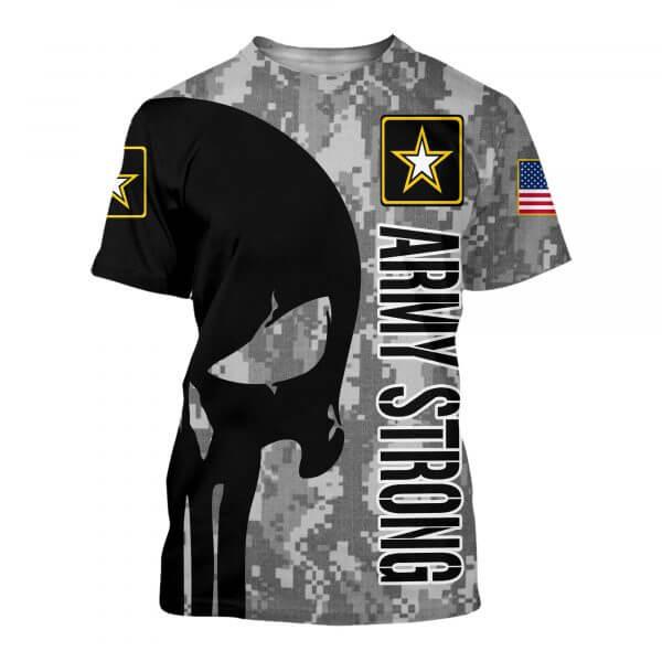 Skull us army strong full printing tshirt