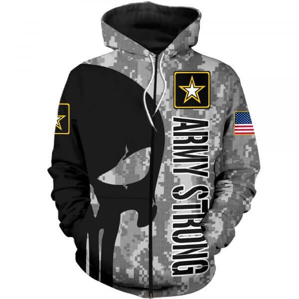 Skull us army strong full printing zip hoodie
