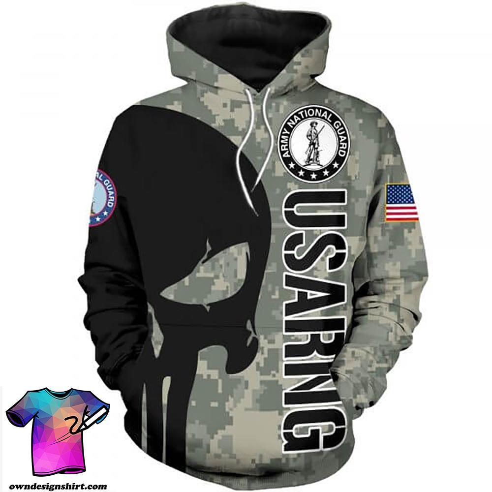 Skull usa army national guard full printing shirt