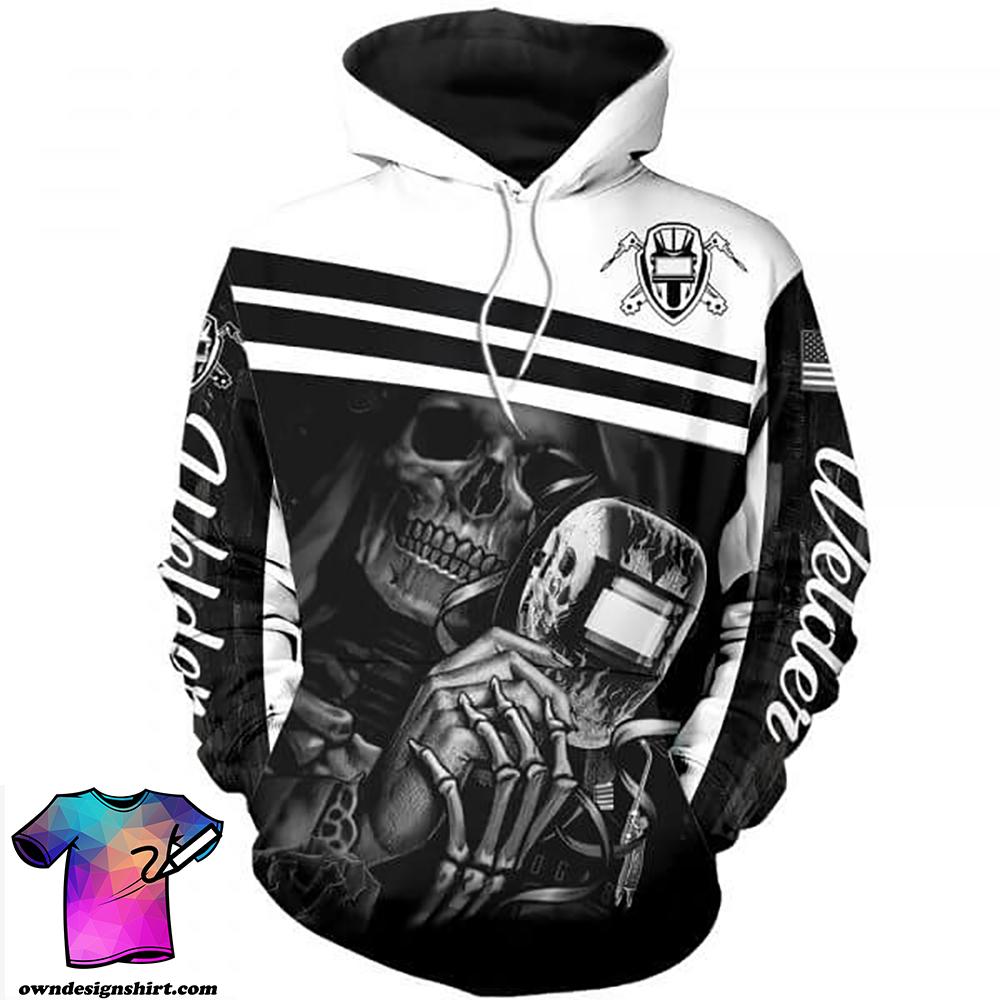 Skull welder all over printed shirt