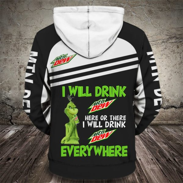 The grinch i will drink mountain dew here all over print hoodie