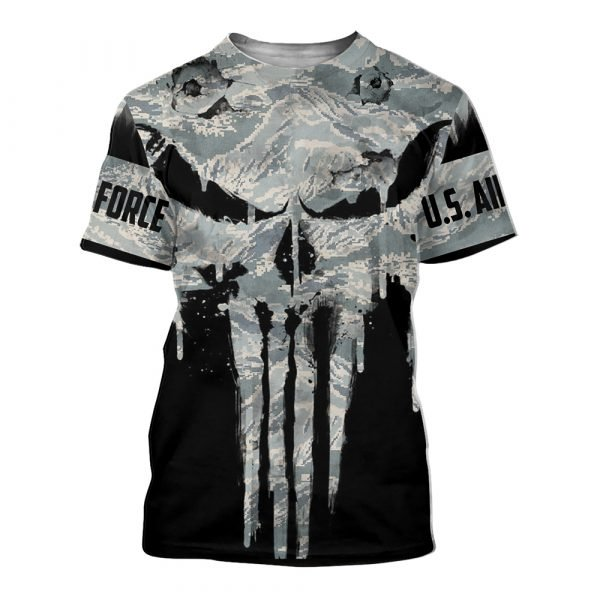 US air force punisher all over printed tshirt