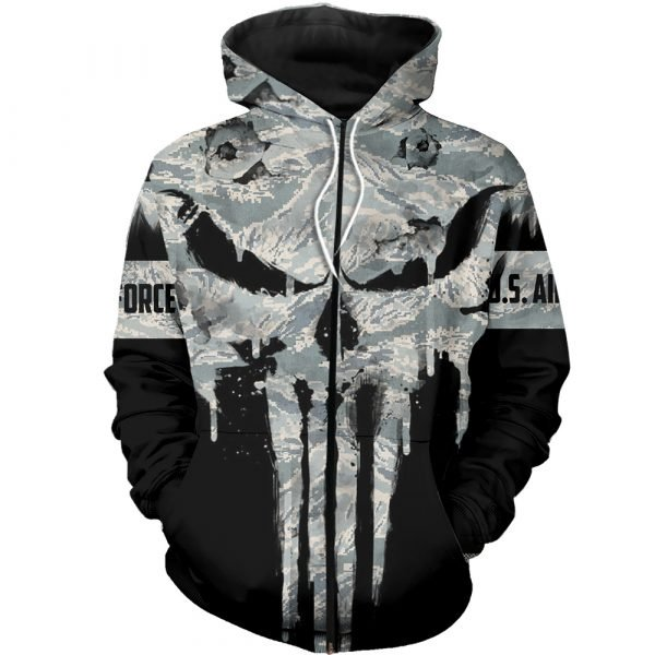 US air force punisher all over printed zip hoodie