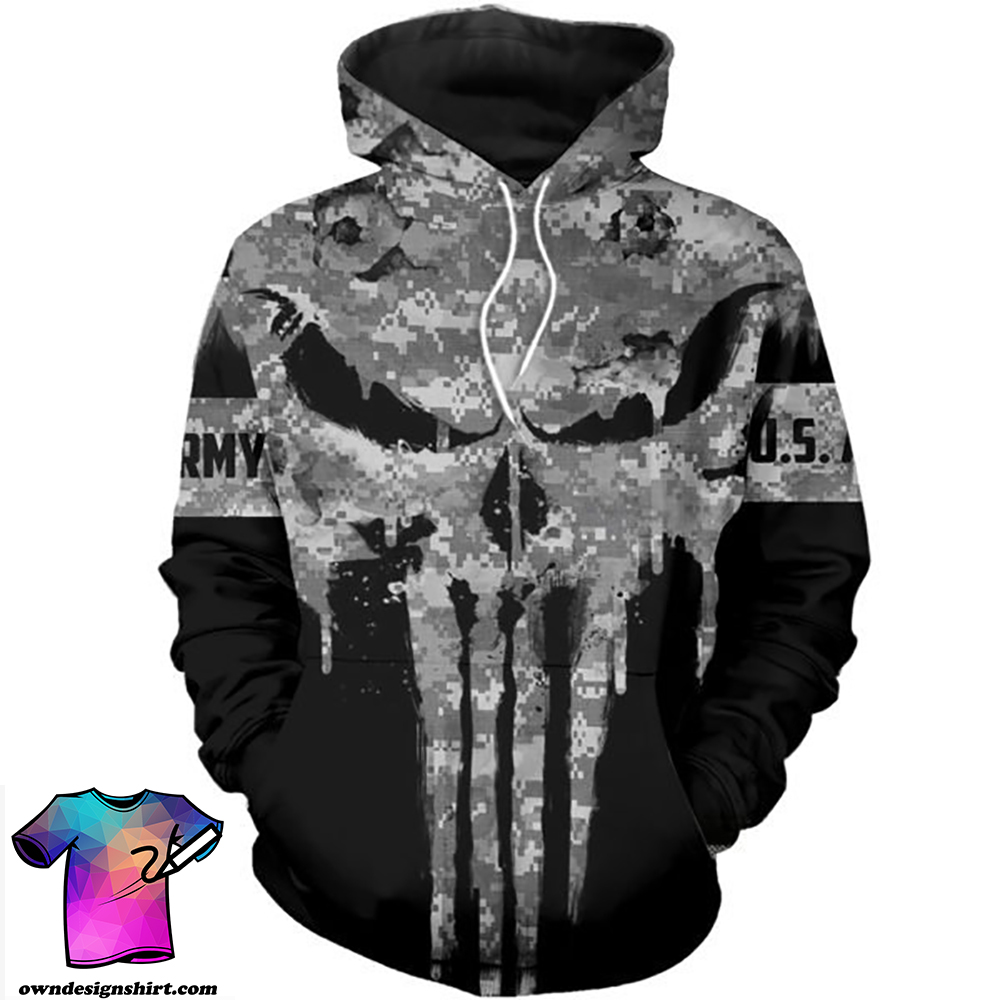 US army punisher all over printed shirt