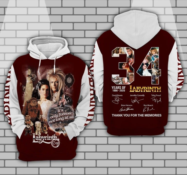 34 years of 1986 2020 labyrinth thank you for the memories full printing hoodie