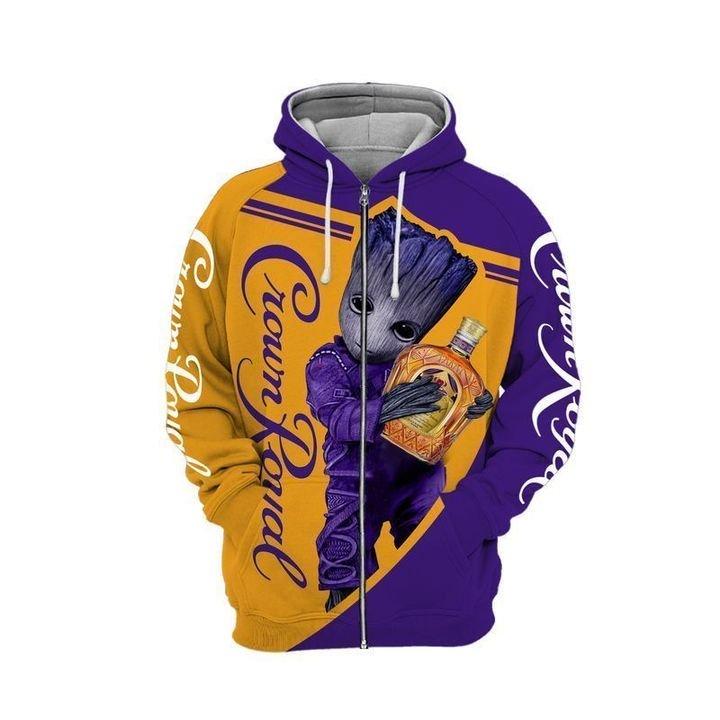 Baby groot and crown royal full printing zip hoodie