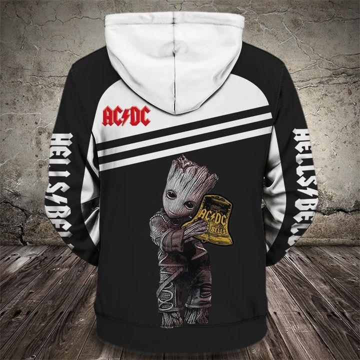Baby groot hells bells acdc full printing hoodie 1