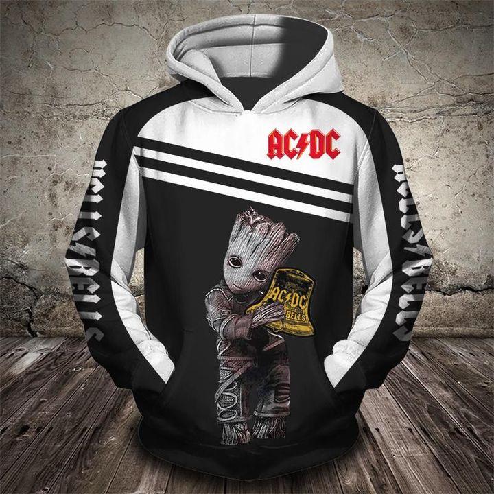 Baby groot hells bells acdc full printing hoodie