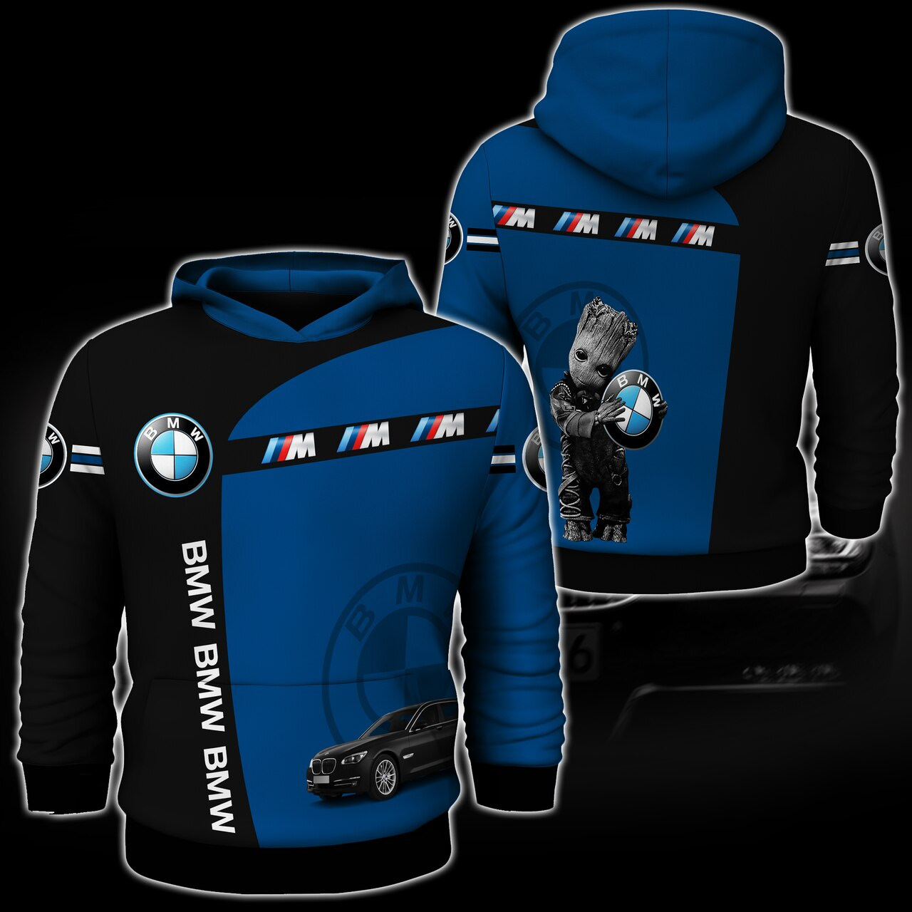 Baby groot hold bmw logo full printing hoodie