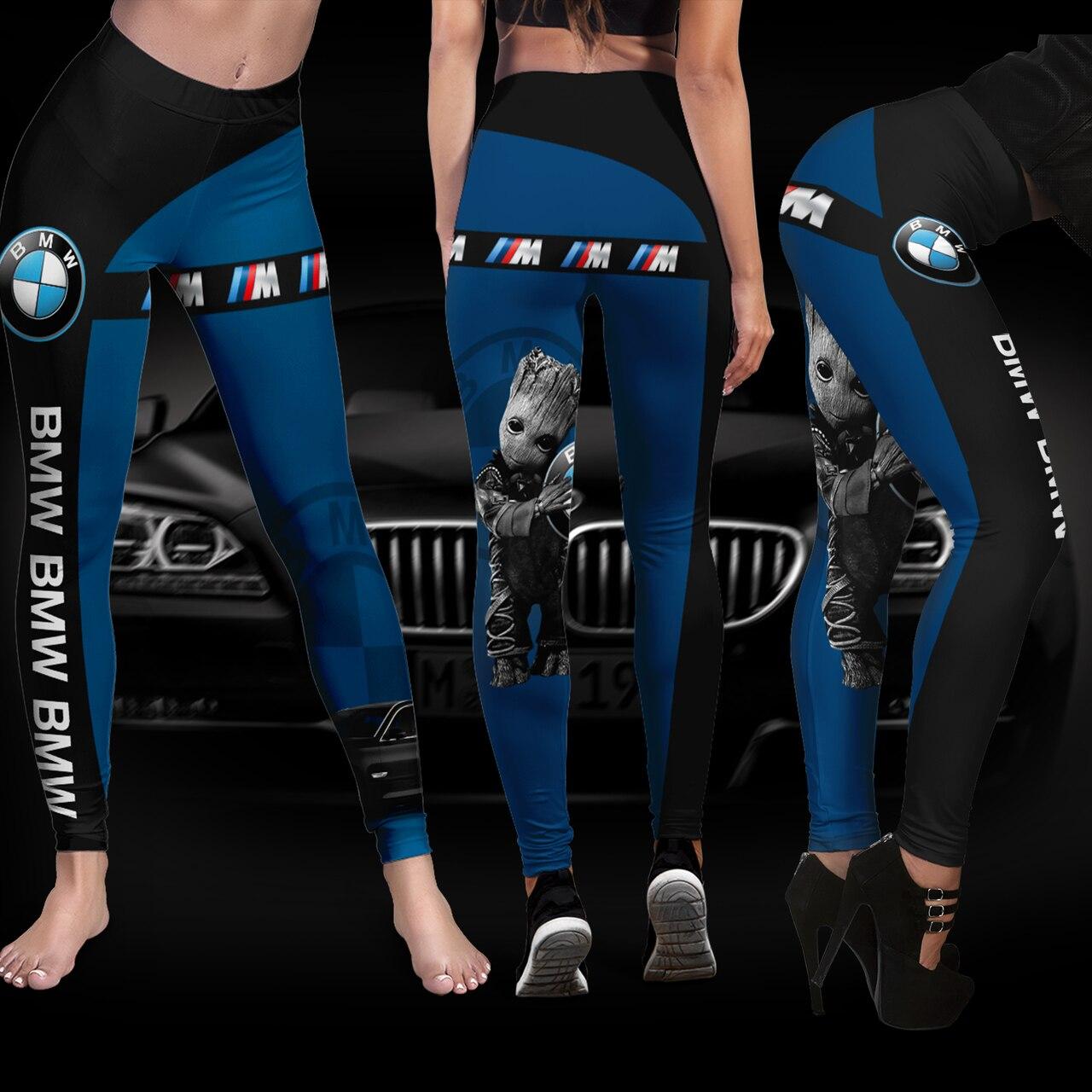 Baby groot hold bmw logo full printing legging