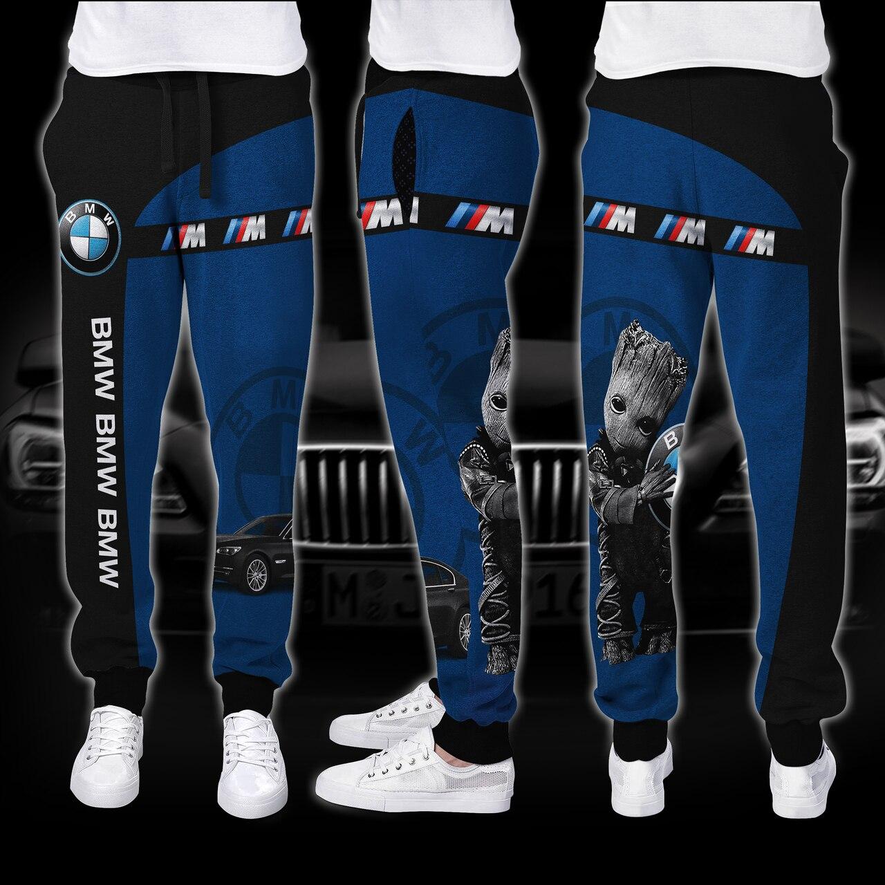 Baby groot hold bmw logo full printing long-pant
