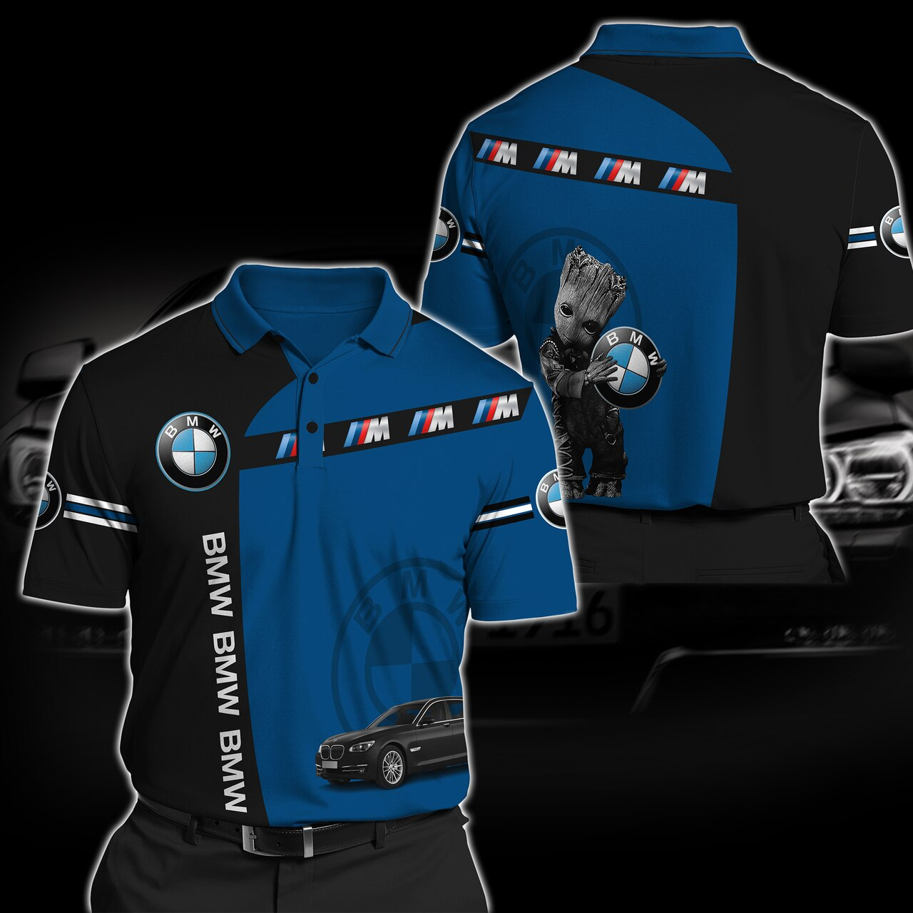 Baby groot hold bmw logo full printing polo