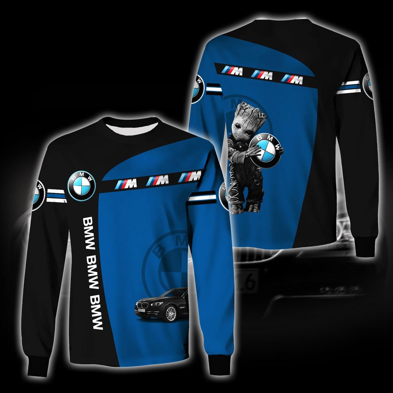 Baby groot hold bmw logo full printing sweatshirt