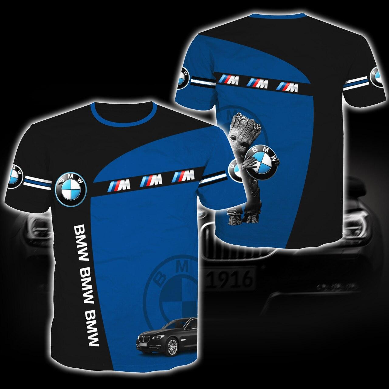 Baby groot hold bmw logo full printing tshirt