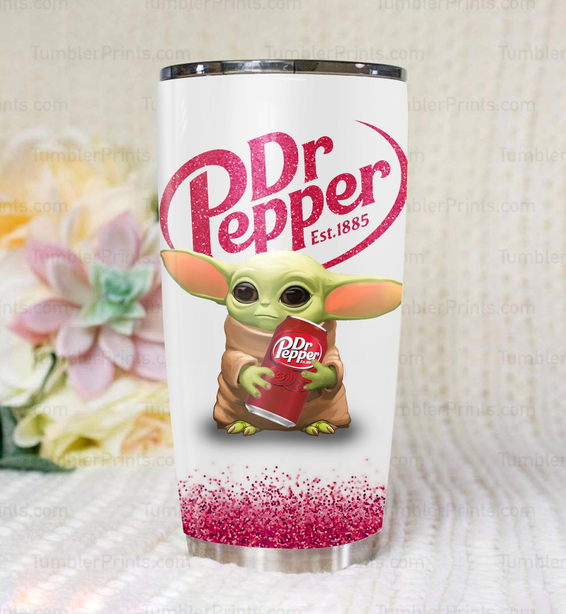 Baby yoda dr pepper full over print tumbler 3