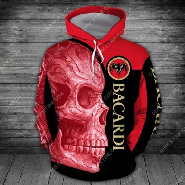 Bacardi sugar skull all over print hoodie