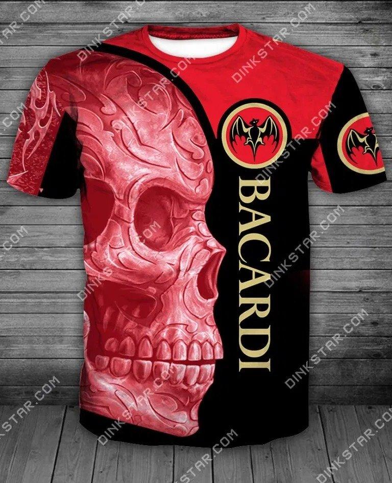 Bacardi sugar skull all over print tshirt