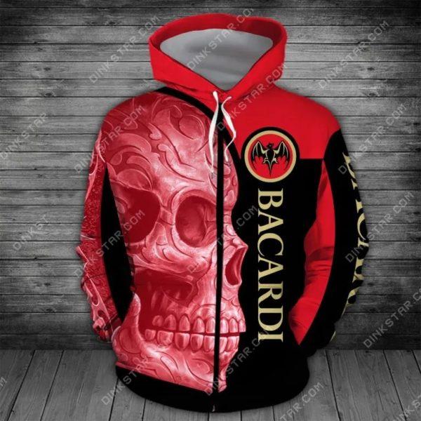 Bacardi sugar skull all over print zip hoodie