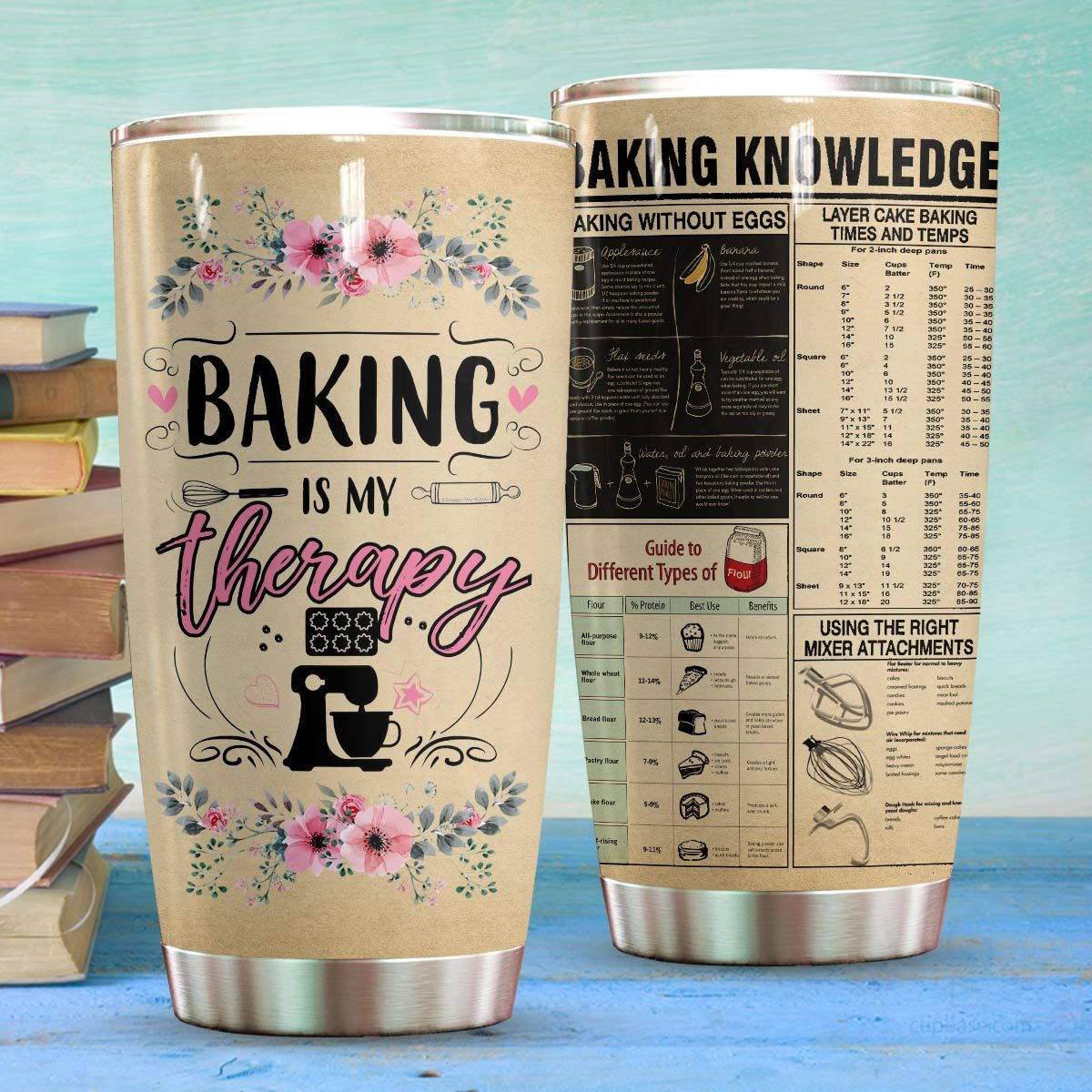 Baking is my therapy baking knowledge full over print tumbler 4