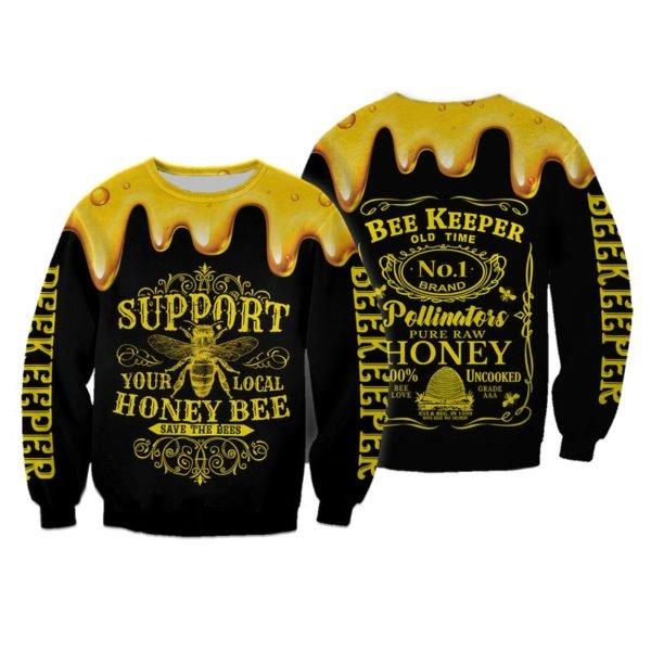 Bee keeper jack daniels logo all over printed sweatshirt