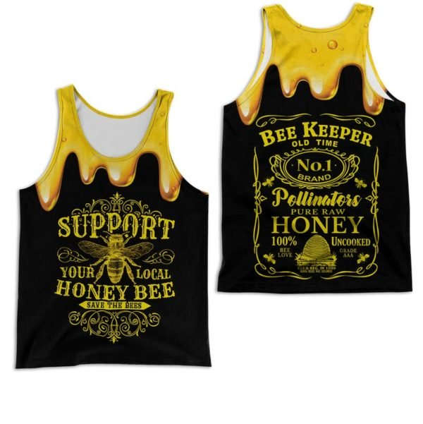 Bee keeper jack daniels logo all over printed tank top