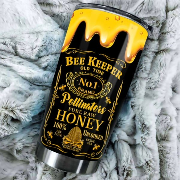 Bee keeper old time no 1 brand pollinators pure raw honey stainless steel tumbler 4
