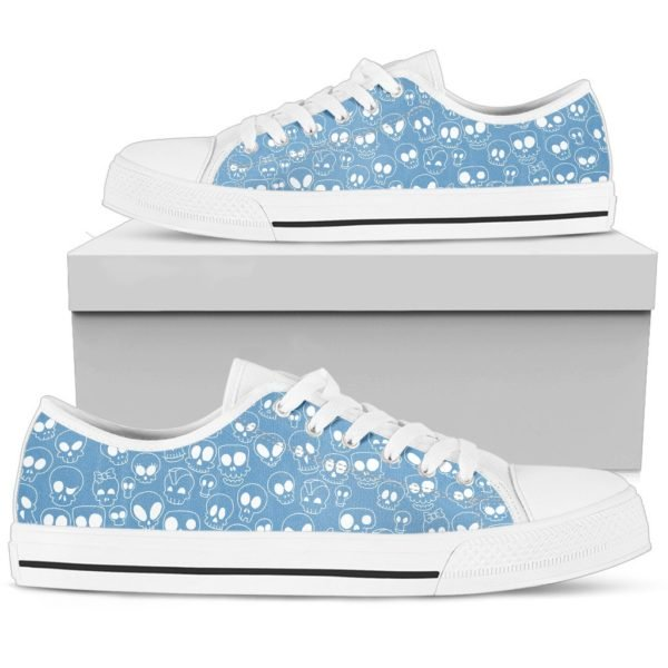 Blue skull low top shoes 4