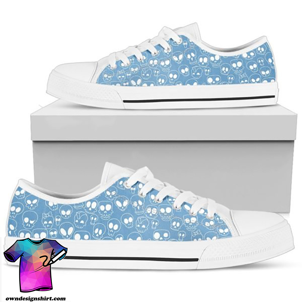 Blue skull low top shoes