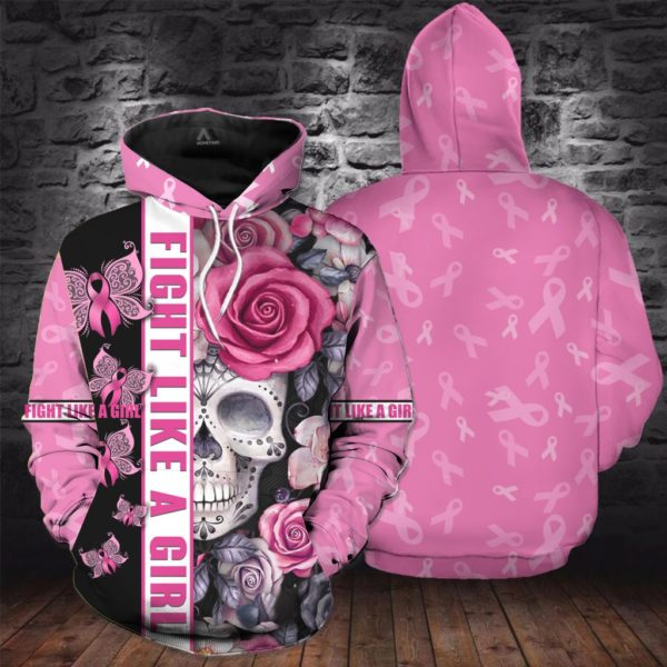 Breast cancer awareness skull butterfly all over printed hoodie 3