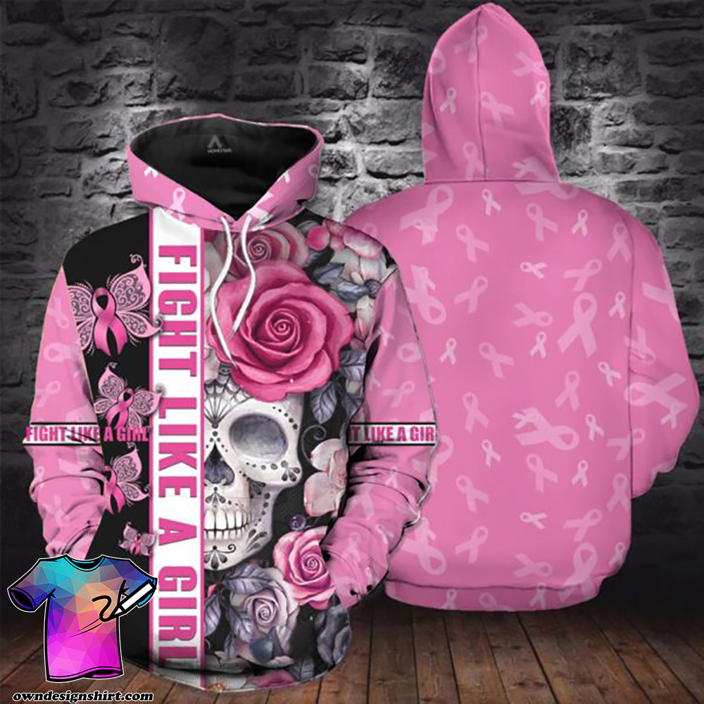 Breast cancer awareness skull butterfly all over printed shirt