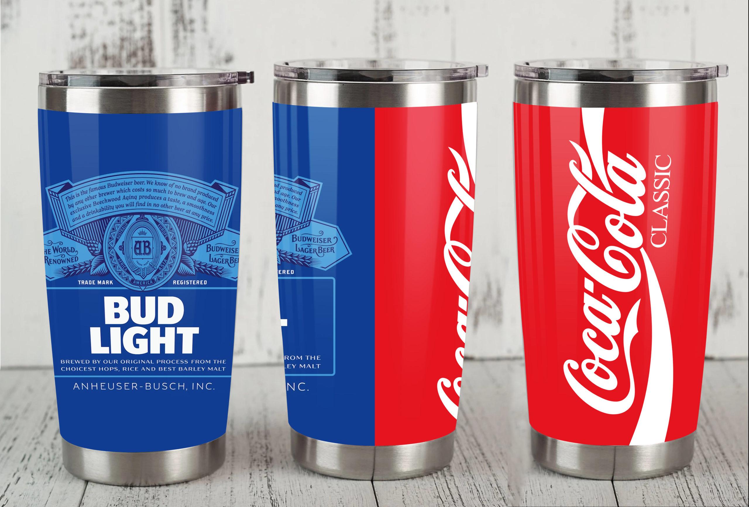 Bud light coca cola all over print tumbler 1
