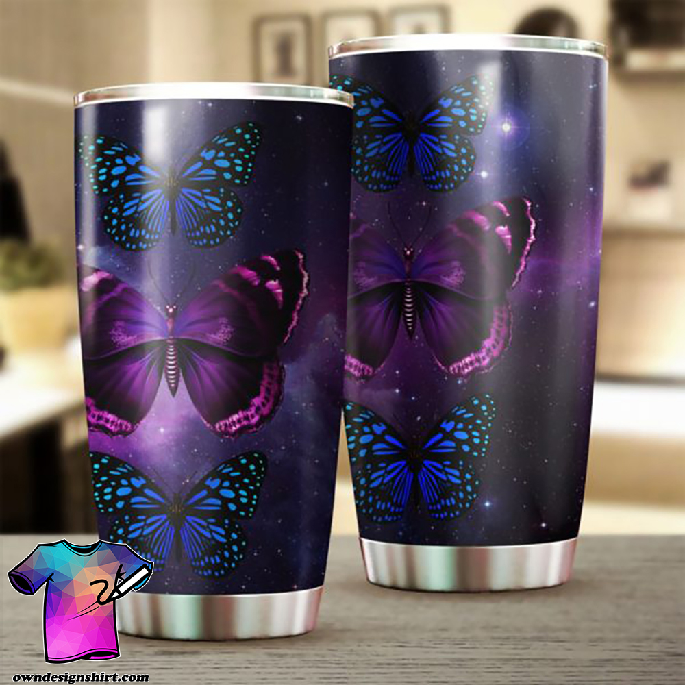 Butterfly night stainless steel tumbler