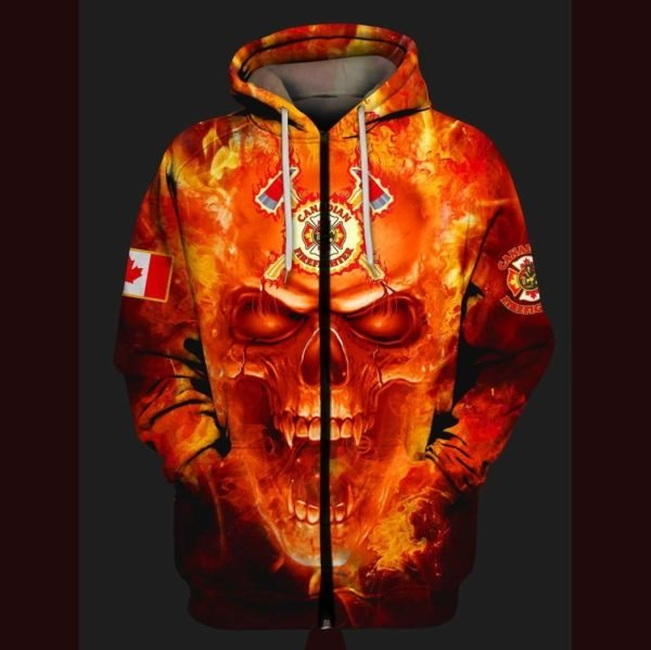Canadian firefighter once a firefighter always a firefighter full printing zip hoodie