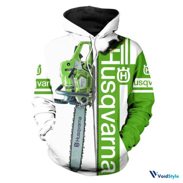 Chainsaw husqvarna full printing hoodie