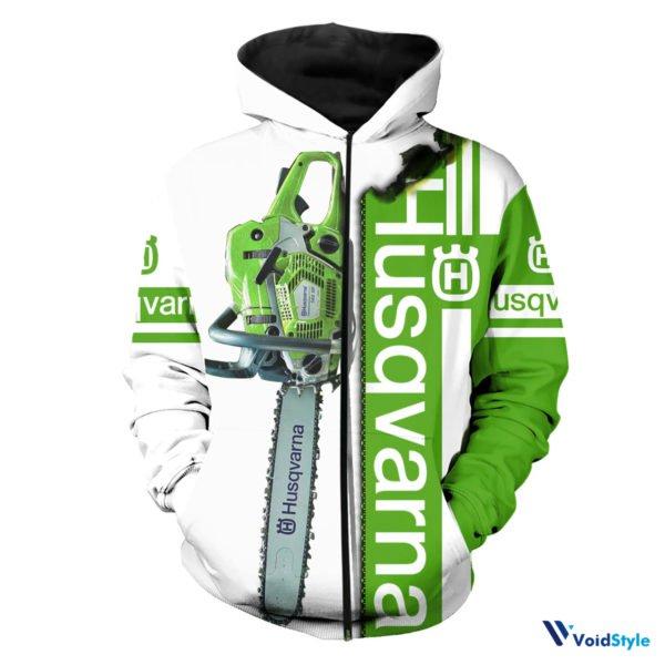 Chainsaw husqvarna full printing zip hoodie