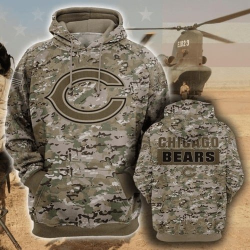 Chicago bears camo full printing hoodie 1