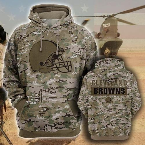 Cleveland browns camo full printing hoodie 1